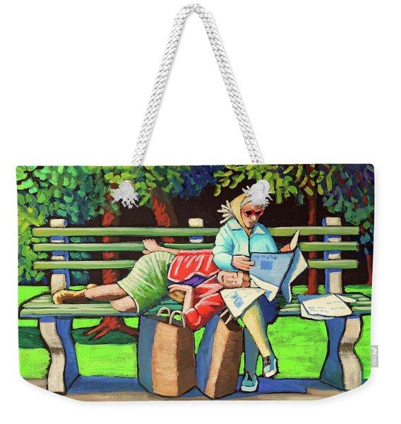 Two Ladies On Bench Weekender Tote Bag