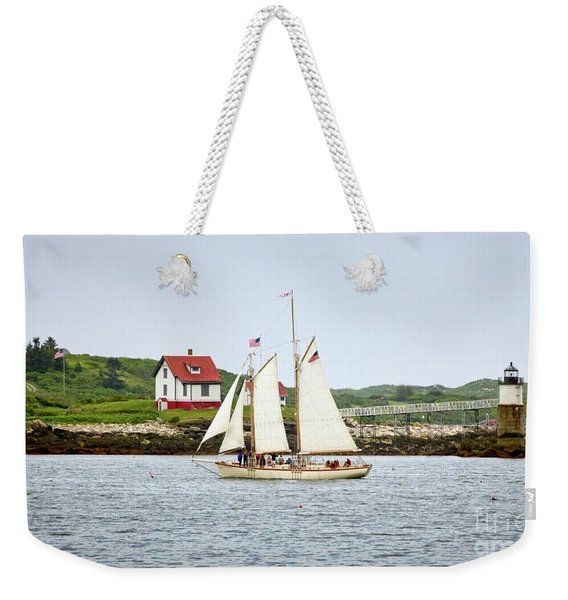 Weekender Tote Bag featuring the photograph Two Masted Schooner And Ram Island Light, East Boothbay, Me #40200 by John Bald