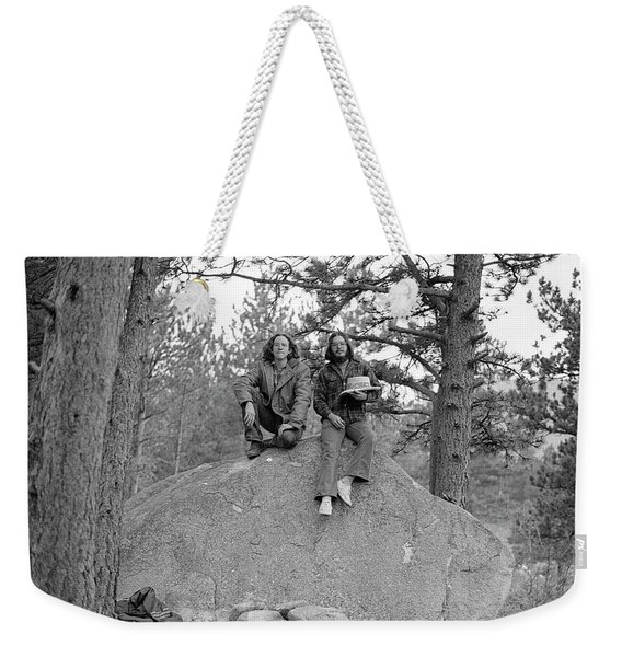 Two Men On A Boulder In The American West, 1972 Weekender Tote Bag