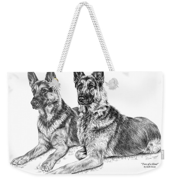 Two Of A Kind - German Shepherd Dogs Print Weekender Tote Bag