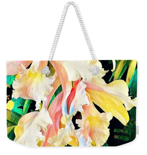 Two Orchids Pink Turquoise Weekender Tote Bag