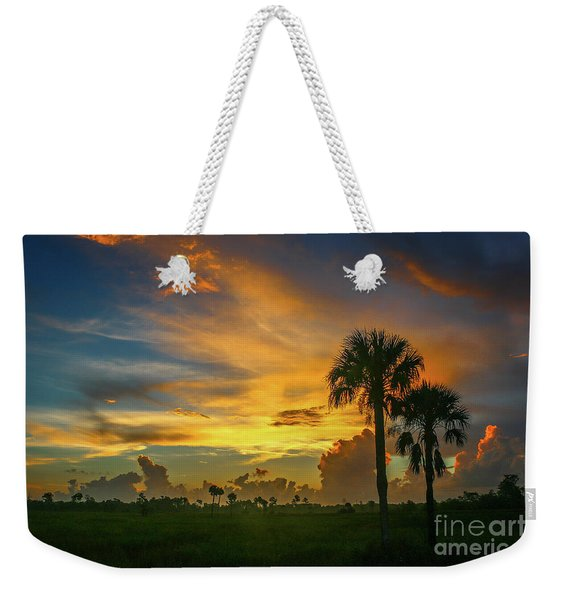 Weekender Tote Bag featuring the photograph Two Palm Silhouette Sunrise by Tom Claud