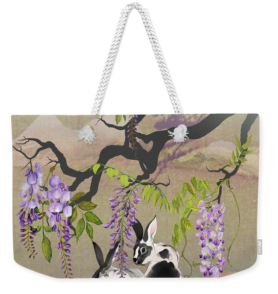 Two Rabbits Under Wisteria Tree Weekender Tote Bag