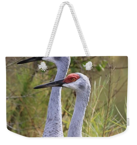 Two Sandhills In Green Weekender Tote Bag