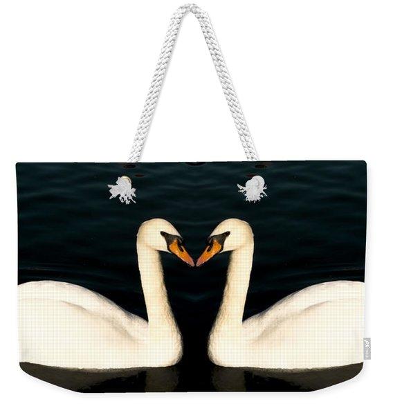 Two Symmetrical White Love Swans Weekender Tote Bag