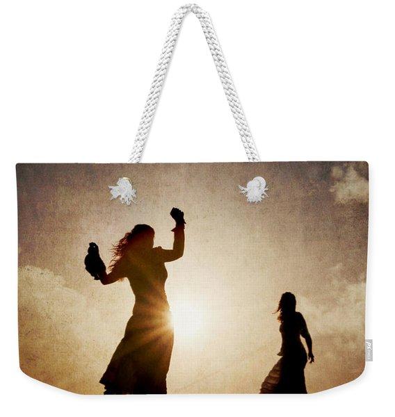 Two Women Dancing At Sunset Weekender Tote Bag