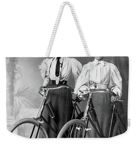 Two Young Ladies With Their Bicycles Circa 1895 Weekender Tote Bag