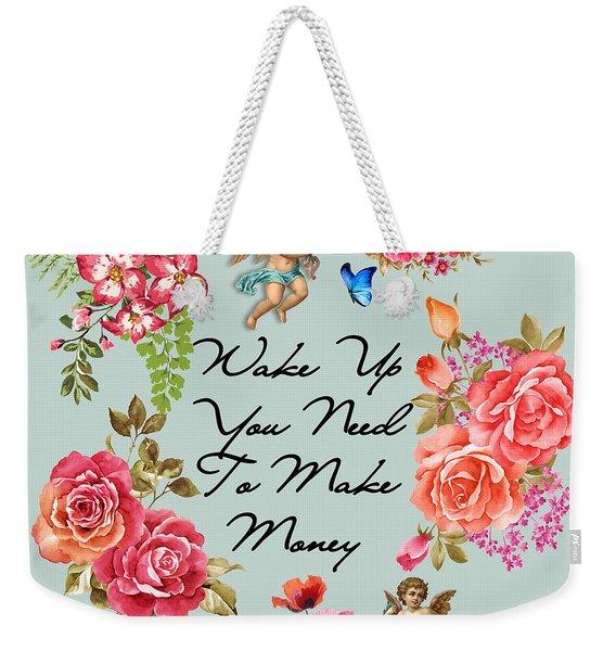 Typography Flowers  Weekender Tote Bag