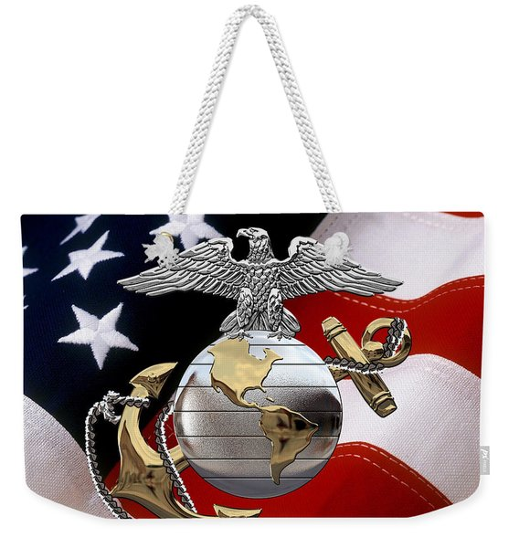 U S M C Eagle Globe And Anchor - C O And Warrant Officer E G A Over U. S. Flag Weekender Tote Bag