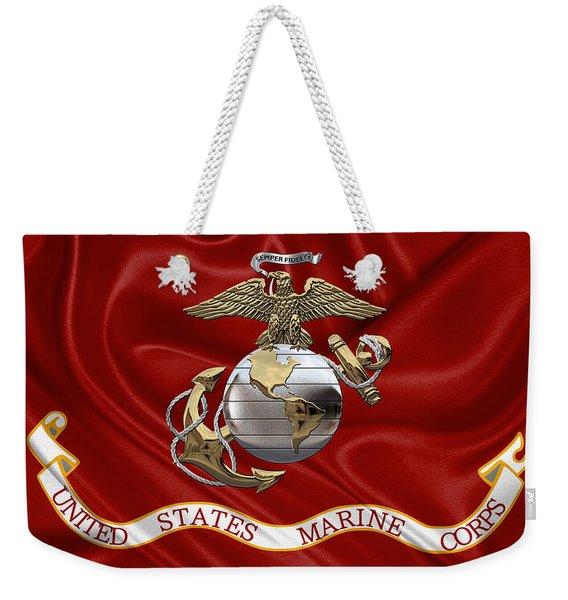 U. S.  Marine Corps - U S M C Eagle Globe And Anchor Over Corps Flag Weekender Tote Bag