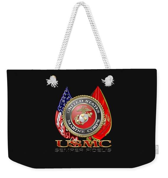 U. S. Marine Corps U S M C Emblem On Black Weekender Tote Bag