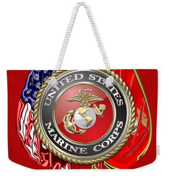 U. S. Marine Corps U S M C Emblem On Red Weekender Tote Bag