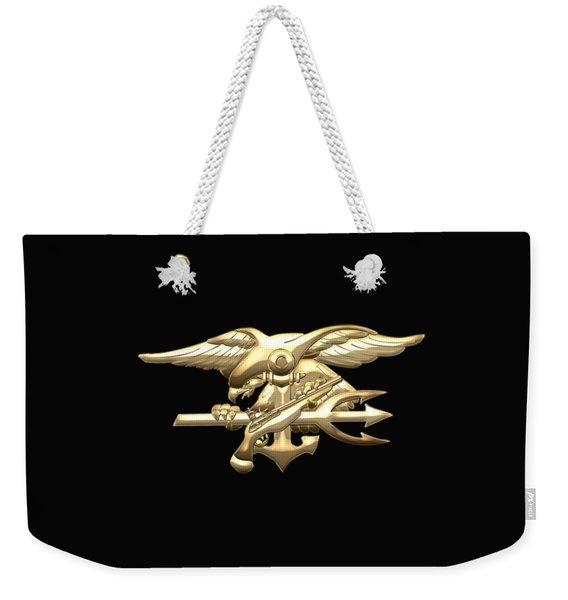 U. S. Navy S E A Ls Emblem On Black Velvet Weekender Tote Bag