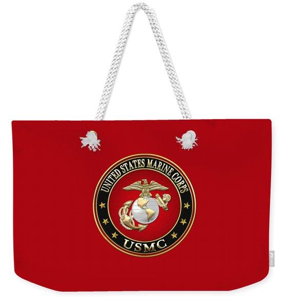 U S M C Eagle Globe And Anchor - E G A On Red Velvet Weekender Tote Bag