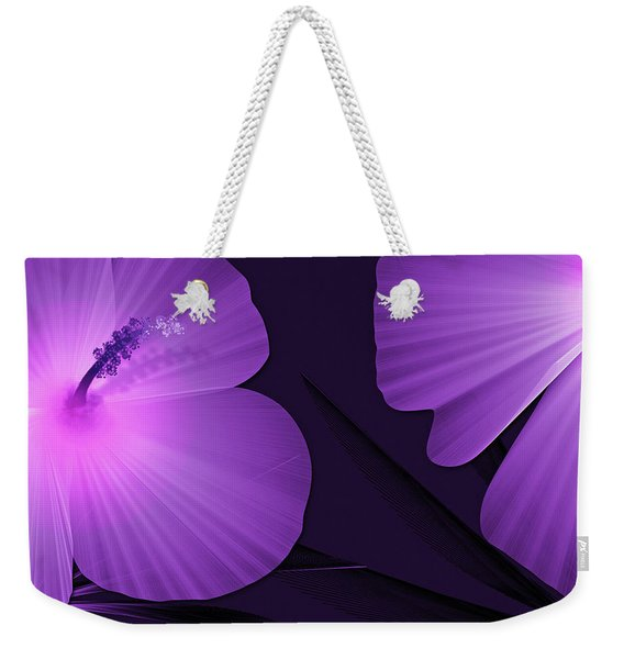 Ultraviolet Hibiscus Tropical Nature Print  Weekender Tote Bag