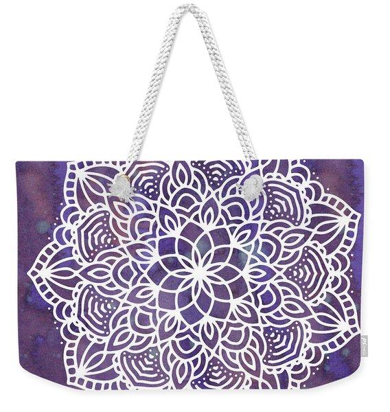 Ultraviolet Mandala Weekender Tote Bag