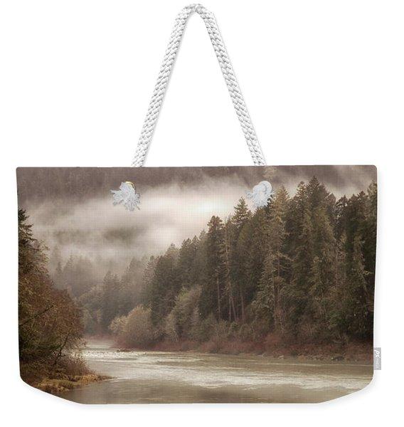 Umpqua River Fog Weekender Tote Bag