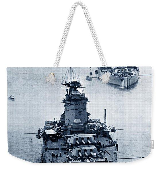 Hms Nelson And Hms Rodney Battleships And Battlecruisers Hms Hood Circa 1941 Weekender Tote Bag
