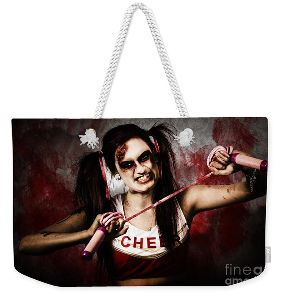 Undead Cheerleader Causing Destruction And Chaos Weekender Tote Bag