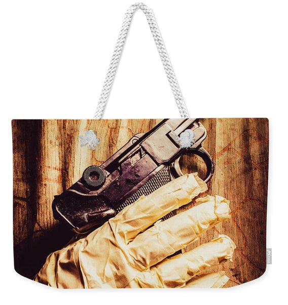 Undead Mummy  Holding Handgun Against Wooden Wall Weekender Tote Bag