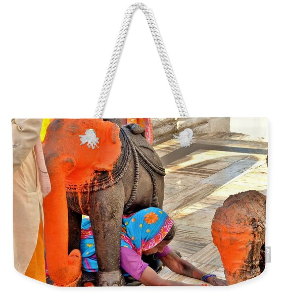 Under The Elephant - Narmada Temple At Arkantak India Weekender Tote Bag