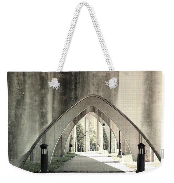 Under The Main Street Bridge - Black And White - Conway, South Carolina Weekender Tote Bag