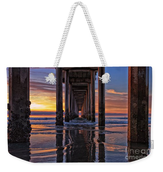 Weekender Tote Bag featuring the photograph Under The Scripps Pier by Sam Antonio Photography