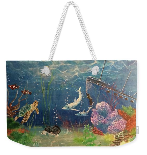 Weekender Tote Bag featuring the painting Under The Sea by Denise Tomasura