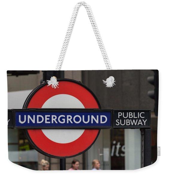 Underground Sign London Weekender Tote Bag
