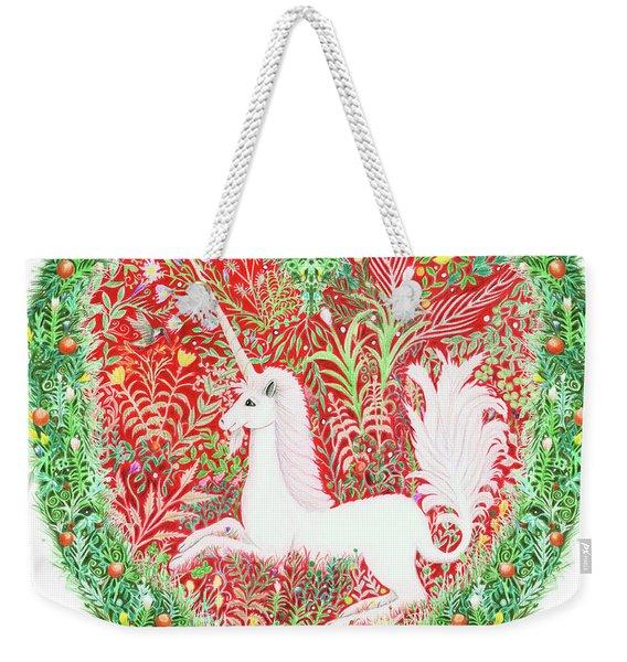 Unicorn Heart With Millefleurs Weekender Tote Bag