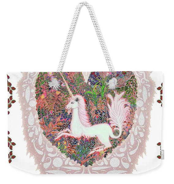 Unicorn In A Pink Heart Weekender Tote Bag