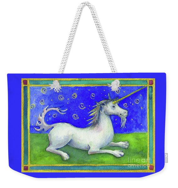 Weekender Tote Bag featuring the painting Unicorn by Lora Serra