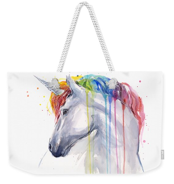 Unicorn Rainbow Watercolor Weekender Tote Bag