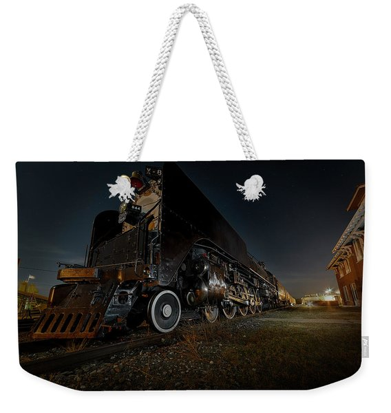 Union Pacific Engine 844 At Rest In Fairbury Nebraska At The Rock Island Depot Weekender Tote Bag