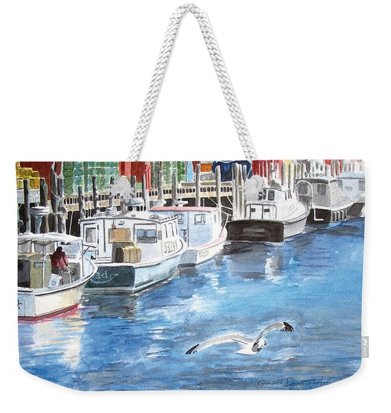 Weekender Tote Bag featuring the painting Union Wharf by Dominic White