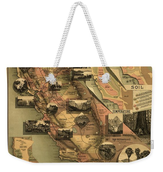Unique Map Of California 1888 Weekender Tote Bag