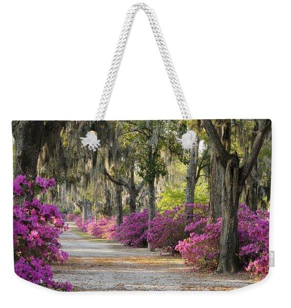 Unpaved Road With Azaleas And Oaks Weekender Tote Bag