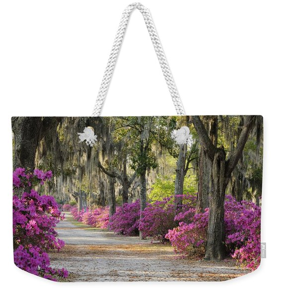 Unpaved Road With Azaleas And Oaks Weekender Tote Bag