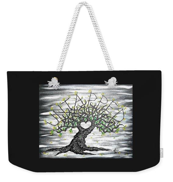 Weekender Tote Bag featuring the drawing Untapped Love Tree by Aaron Bombalicki