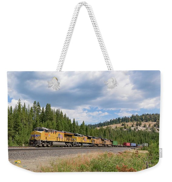 Weekender Tote Bag featuring the photograph Up2650 Westbound From Donner Pass by Jim Thompson