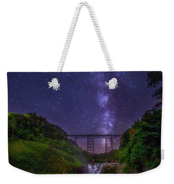 Upper Falls At Night Weekender Tote Bag