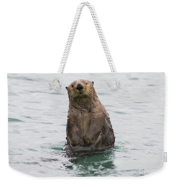 Upright Sea Otter Weekender Tote Bag