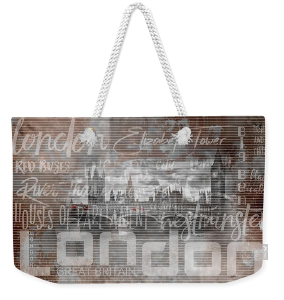 Urban-art London Houses Of Parliament And Red Buses Iv Weekender Tote Bag