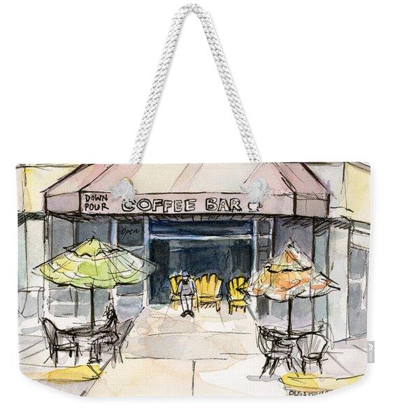 Coffee Shop Watercolor Sketch Weekender Tote Bag