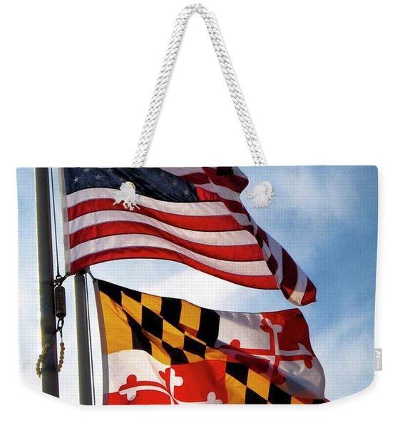 Us And Maryland Flags Weekender Tote Bag