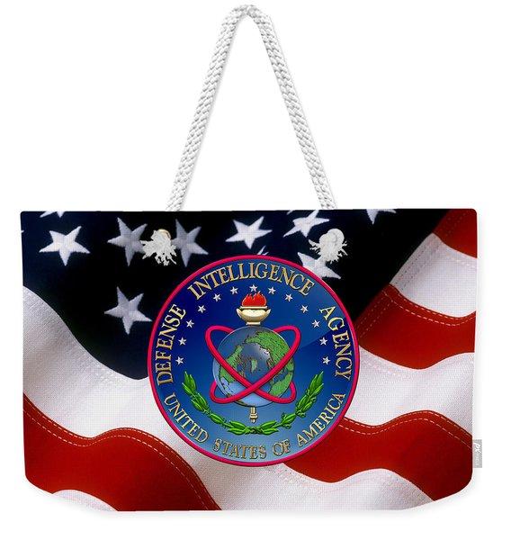 U. S. Defense Intelligence Agency - D I A Emblem Over Flag Weekender Tote Bag
