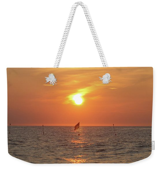 Us Flag Floating At Sunrise Weekender Tote Bag