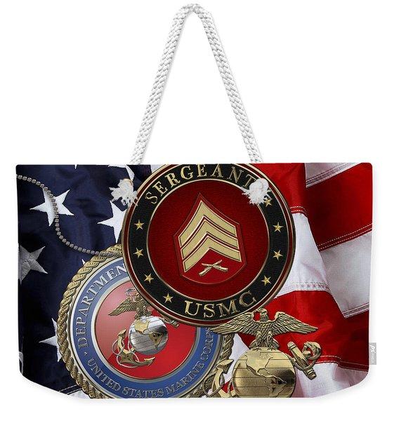 U. S. Marines Sergeant - U S M C Sgt Rank Insignia Over American Flag Weekender Tote Bag