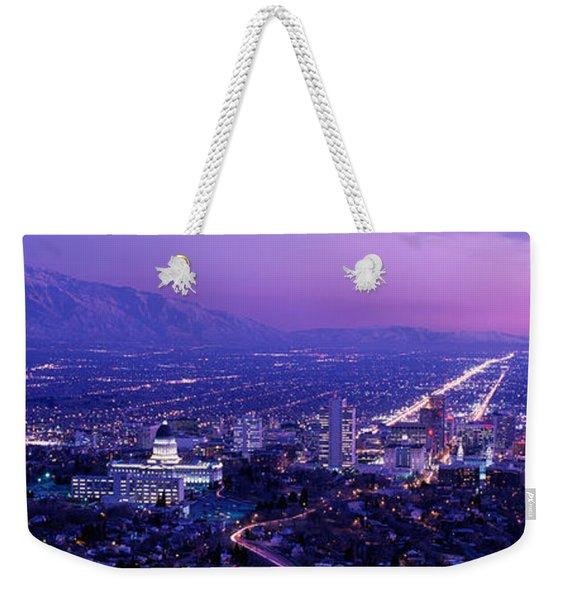 Usa, Utah, Salt Lake City, Aerial, Night Weekender Tote Bag