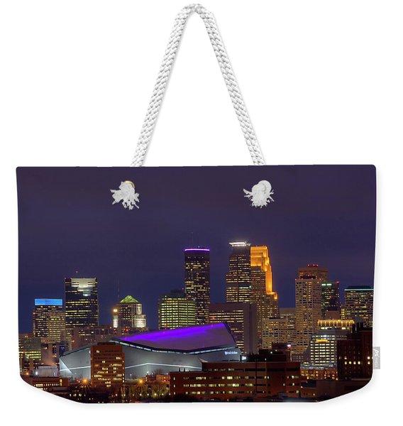 Usbank Stadium Dressed In Purple Weekender Tote Bag